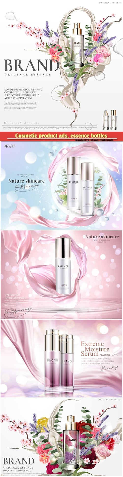 Cosmetic product ads, essence bottles with floral and plants in bubbles in 3d illustration, glitter bokeh background