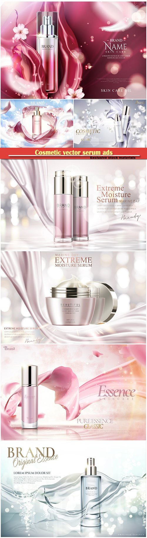 Cosmetic vector serum ads, cosmetic spray, cosmetic cream  in 3d illustration