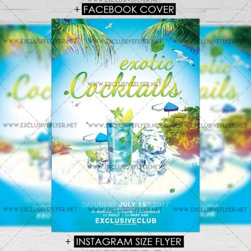 Premium A5 Flyer Template - Exotic Cocktails