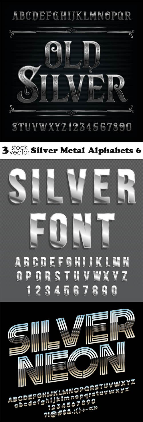 Vectors - Silver Metal Alphabets 6