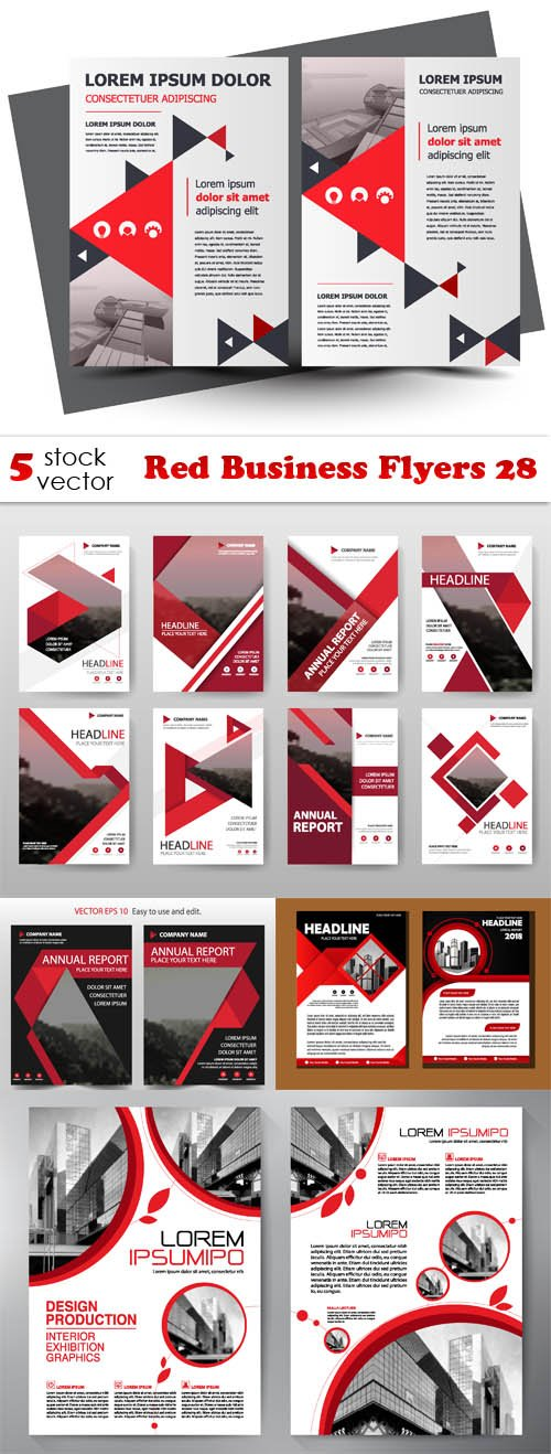 Vectors - Red Business Flyers 28