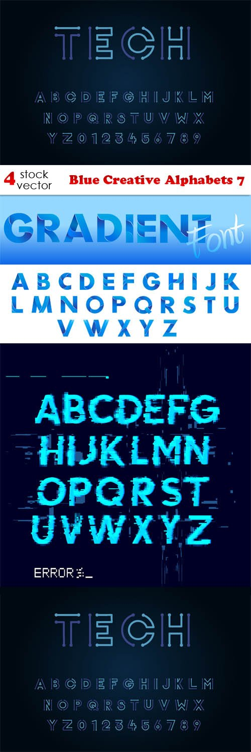 Vectors - Blue Creative Alphabets 7