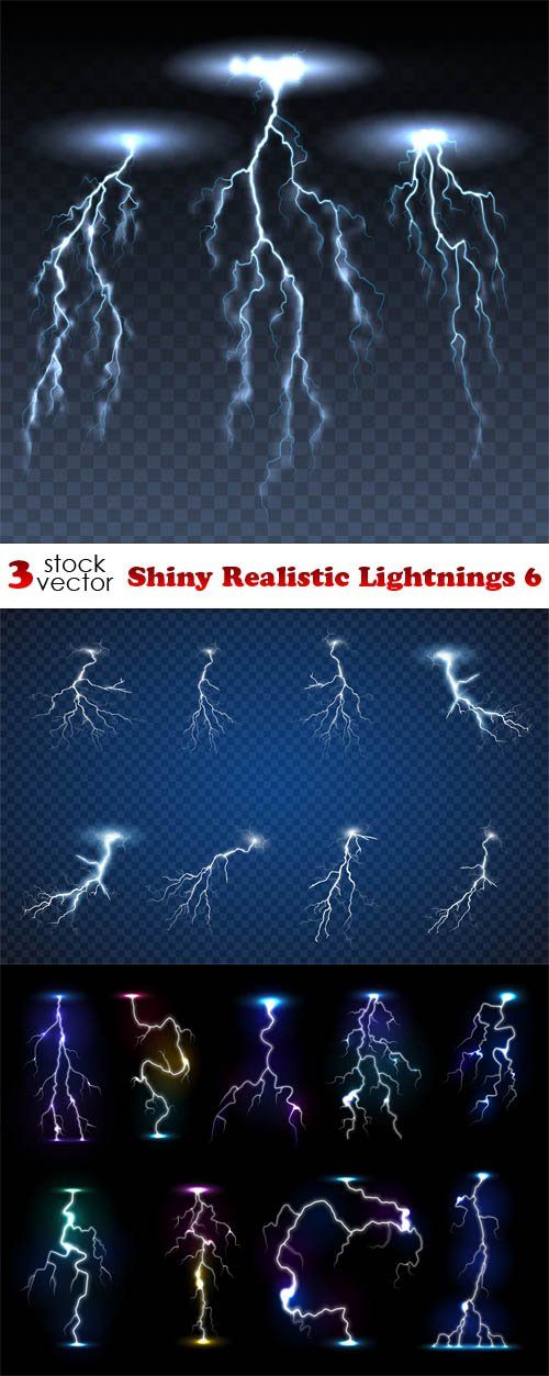 Vectors - Shiny Realistic Lightnings 6