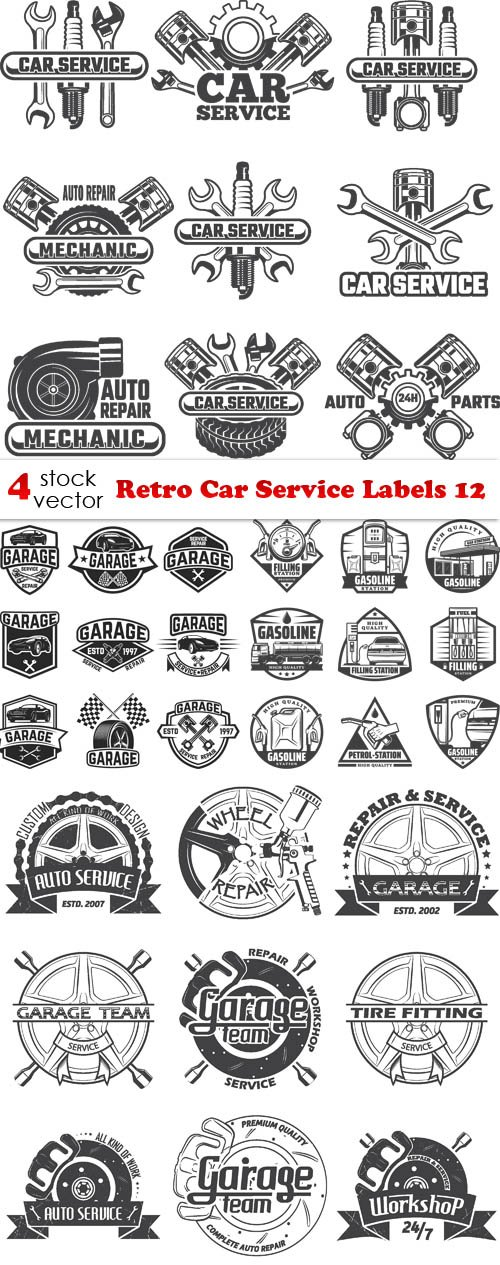 Vectors - Retro Car Service Labels 12