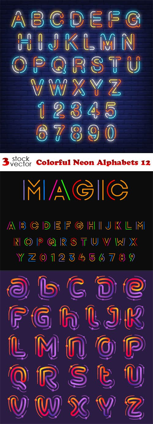 Vectors - Colorful Neon Alphabets 12