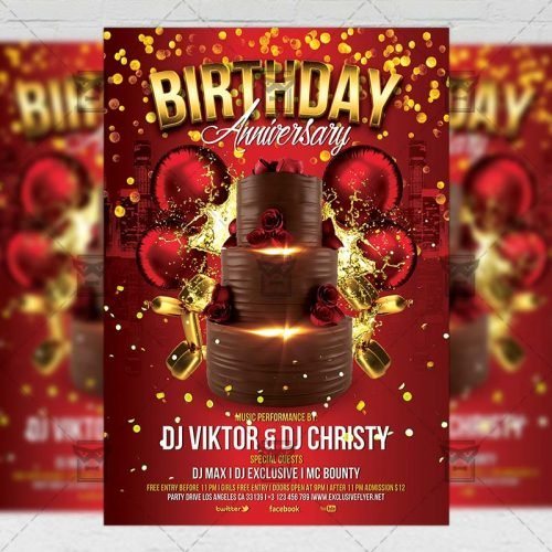 Club A5 Template - Birthday Anniversary Flyer