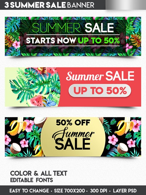 3 Summer Sale Banners in PSD
