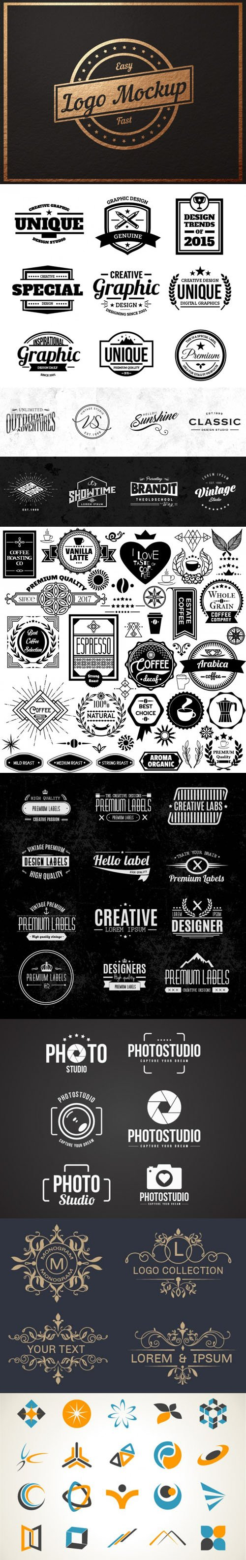 Pack of Logos & Badges Collection in [Ai/EPS/PSD]