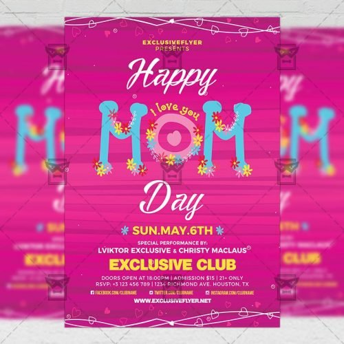 Seasonal A5 Flyer Template - Happy Mom Day