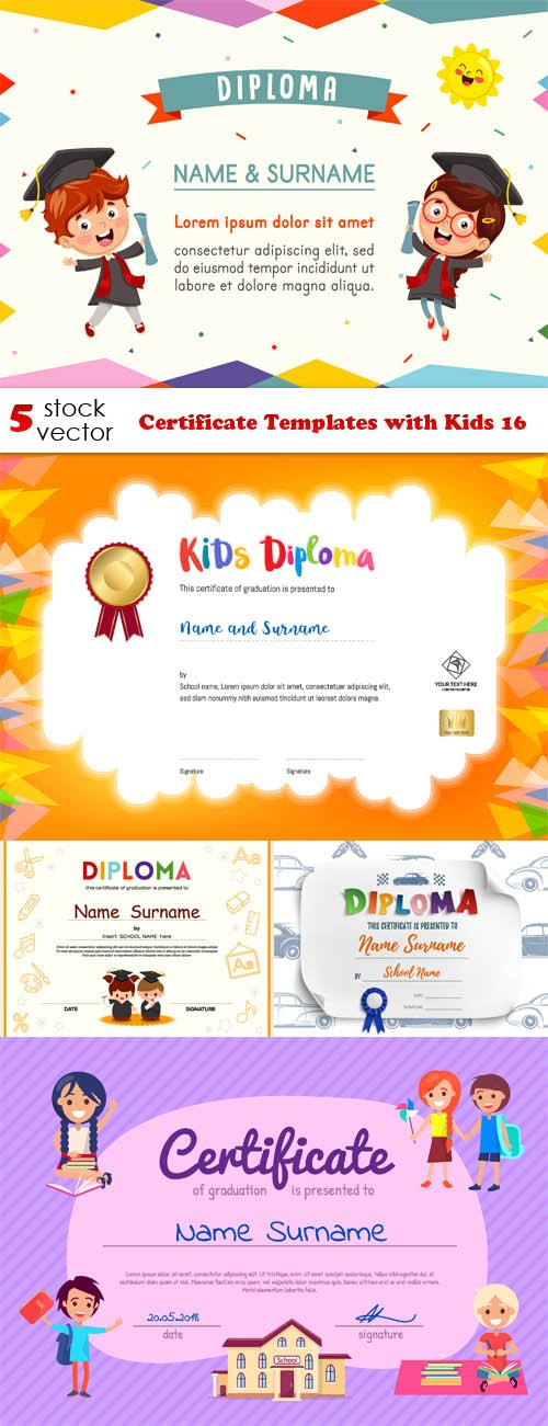 Vectors - Certificate Templates with Kids 16