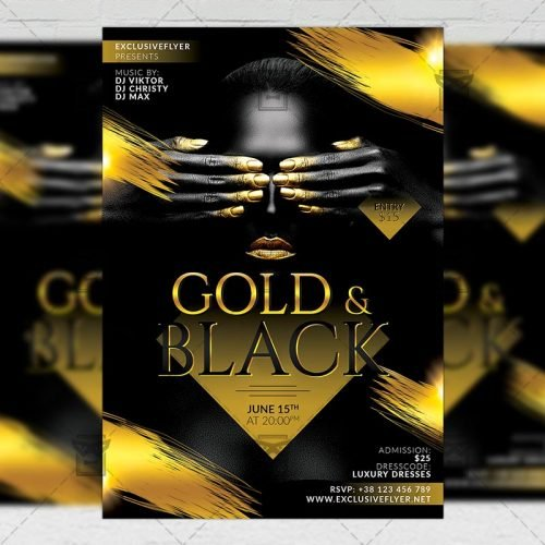 Club A5 Flyer Template - Gold and Black Party