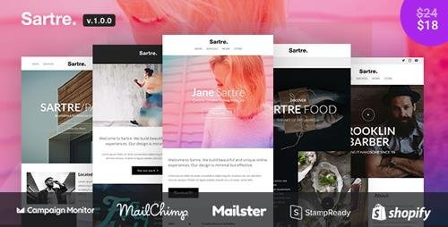 ThemeForest - Sartre v1.0.0 - Responsive Email Toolkit: 120+ Sections + Online Builder + MailChimp + Mailster + Shopify - 21991804