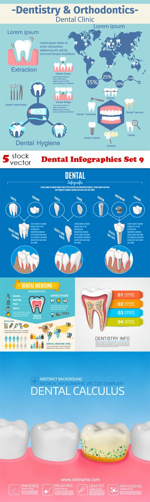 Vectors - Dental Infographics Set 9