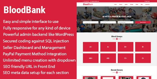 CodeCanyon - BloodBank v1.0 - Blood Donor Directory CMS with PayPal Integration - 21188267