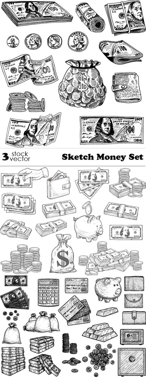 Vectors - Sketch Money Set