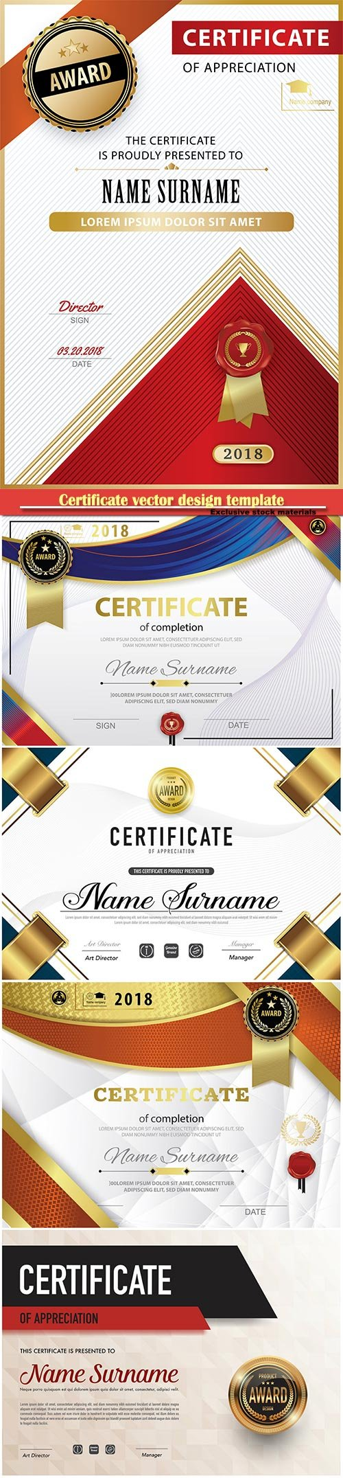 Certificate and vector diploma design template # 74