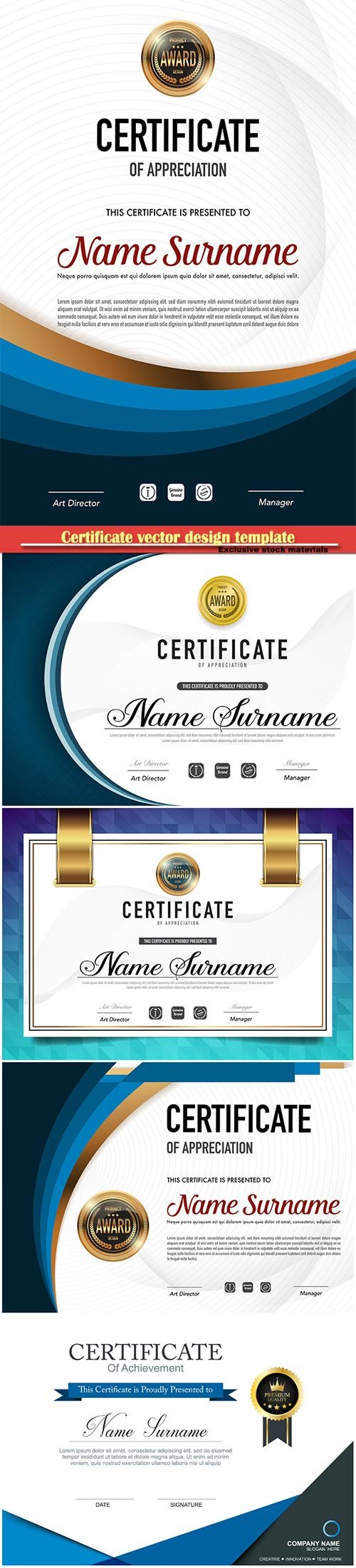 Certificate and vector diploma design template # 73