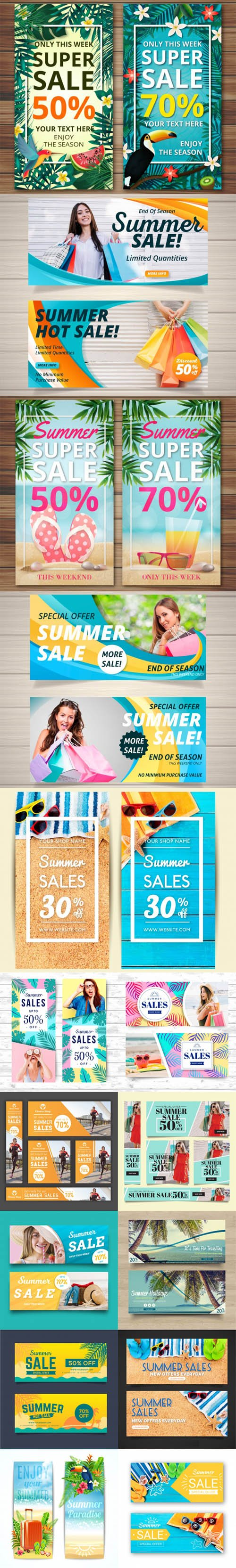 Pack of 15 Summer Sale Banner Vector Collection