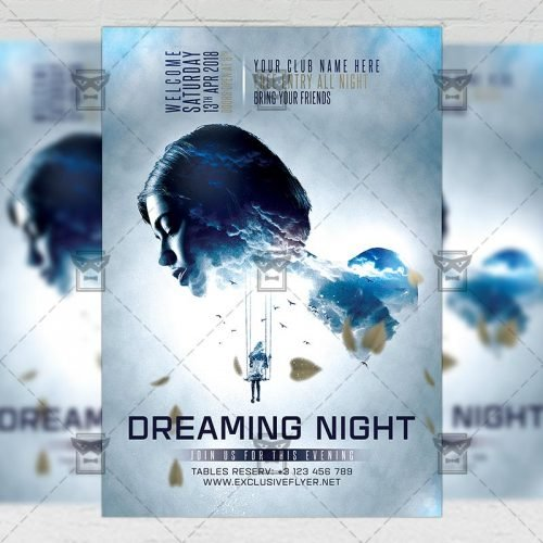 Club A5 Flyer Template - Dreaming Night