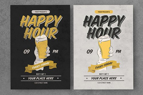 Old Vintage Happy Hour PSD