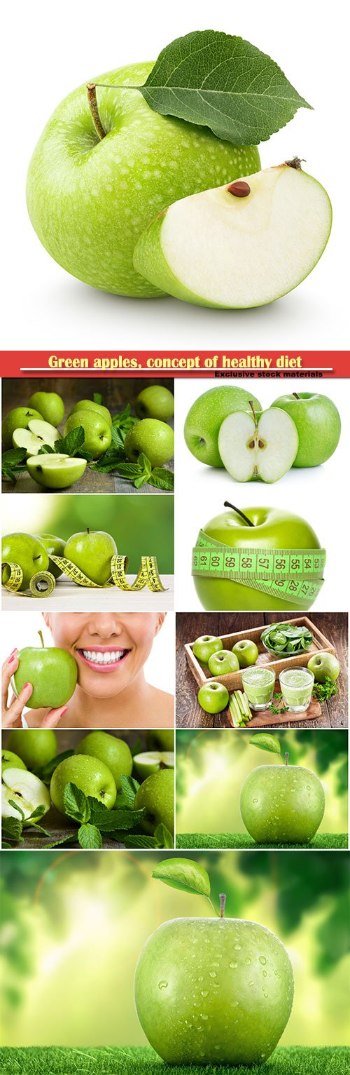 Green apples, concept of healthy diet
