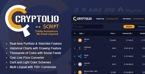 CodeCanyon - Cryptolio v1.0 - Realtime Cryptocurrency Market Prices, Charts,Portfolio,Watchlist,Calculator & much more - 21444005