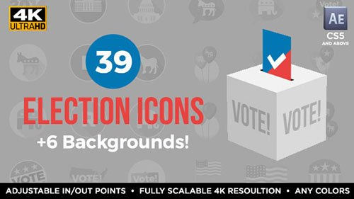39 Flat USA Election Icons - Project for After Effects (Videohive)