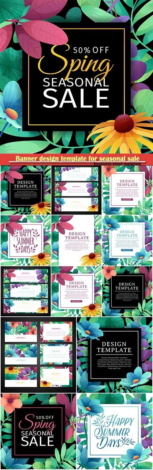 Banner design template for seasonal sale, elegant decoration of flowers, plants, grass
