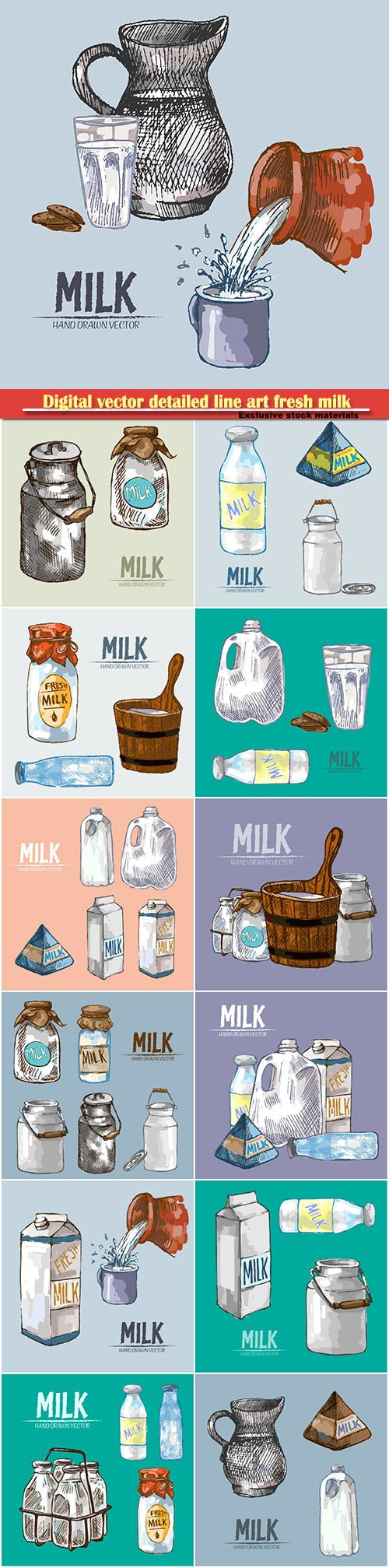 Digital vector detailed line art fresh milk in glass bottles hand drawn retro illustration collection set