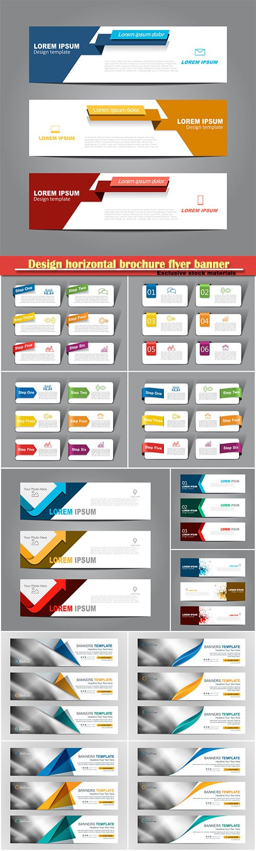 Design horizontal brochure flyer banner, vector infographic template