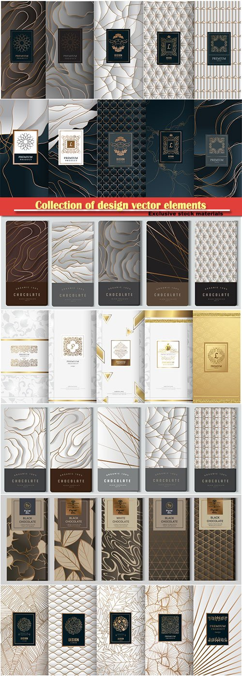 Collection of design vector elements, labels, frames, for packaging, design of luxury products