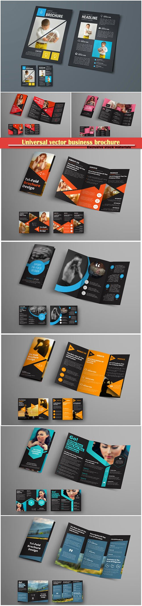 Template of a universal vector business brochure with square and triangular elements and a place for a photo