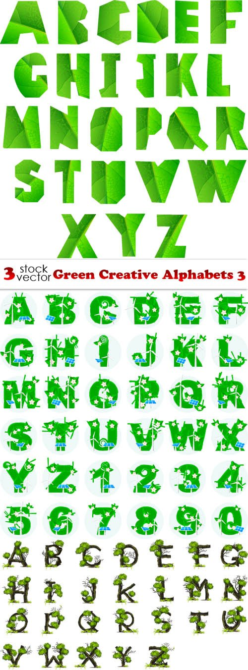Vectors - Green Creative Alphabets 3