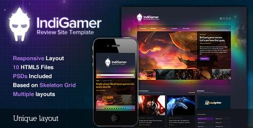 ThemeForest - Indigamer v1.0 - Responsive Review Site Template - 2797665