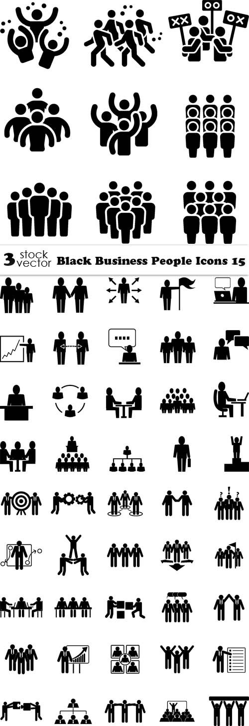 Vectors - Black Business People Icons 16