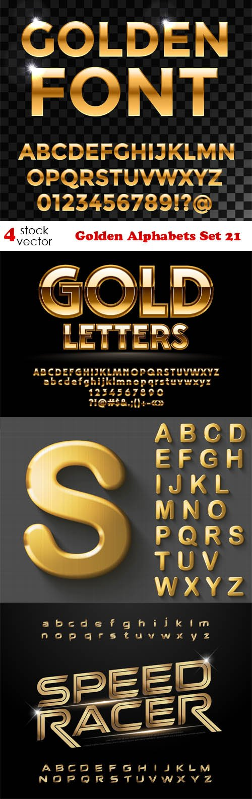 Vectors - Golden Alphabets Set 21