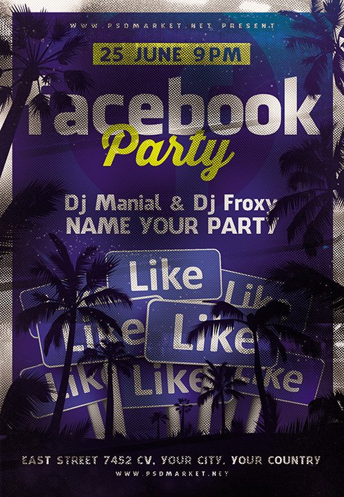 PSD Template - Facebook Party Flyer