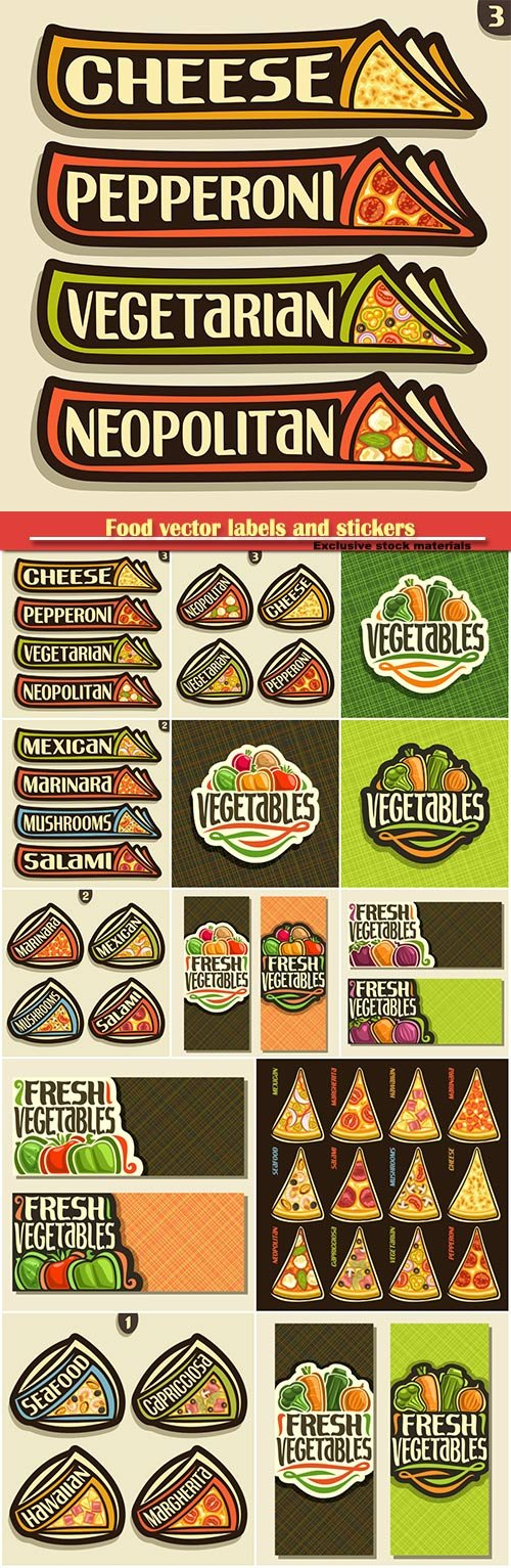 Food vector labels and stickers in vintage style