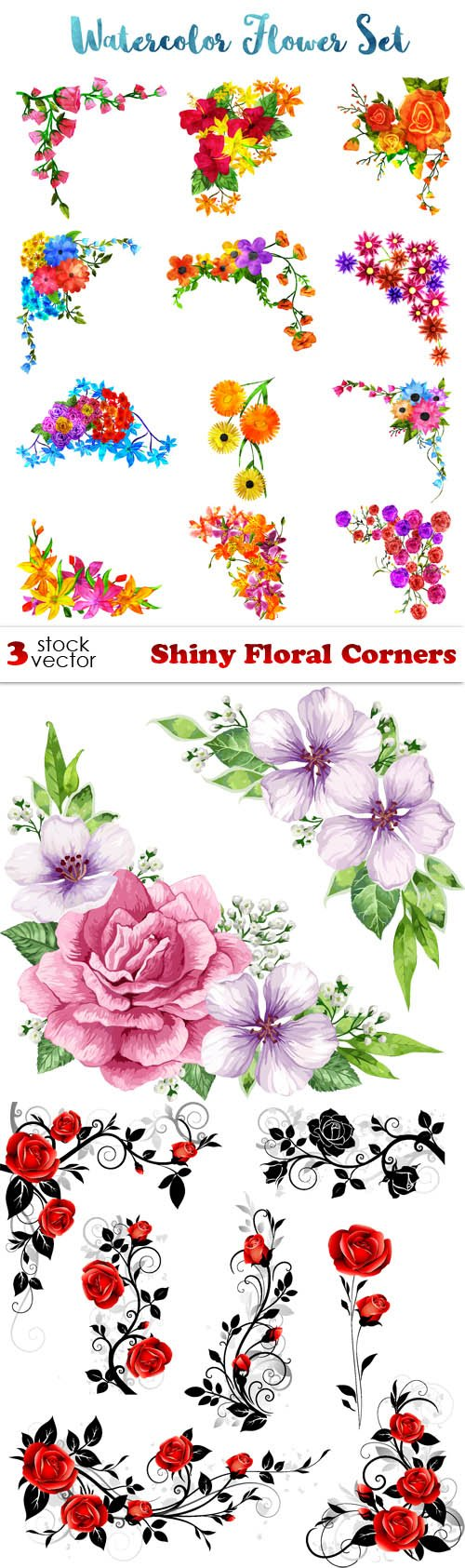 Vectors - Shiny Floral Corners