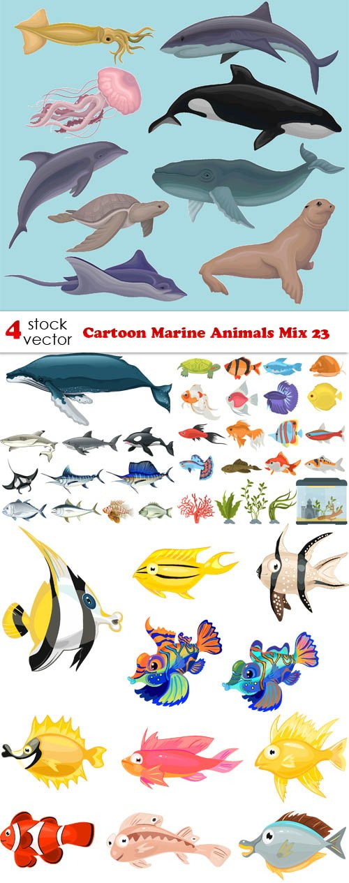 Vectors - Cartoon Marine Animals Mix 23
