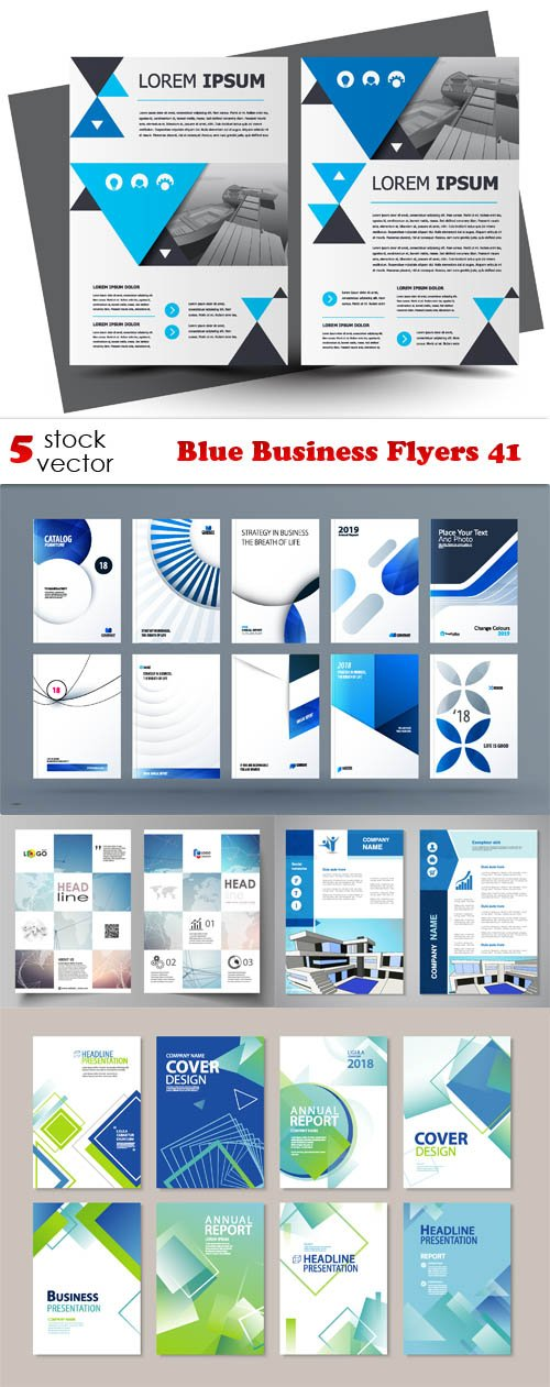 Vectors - Blue Business Flyers 41
