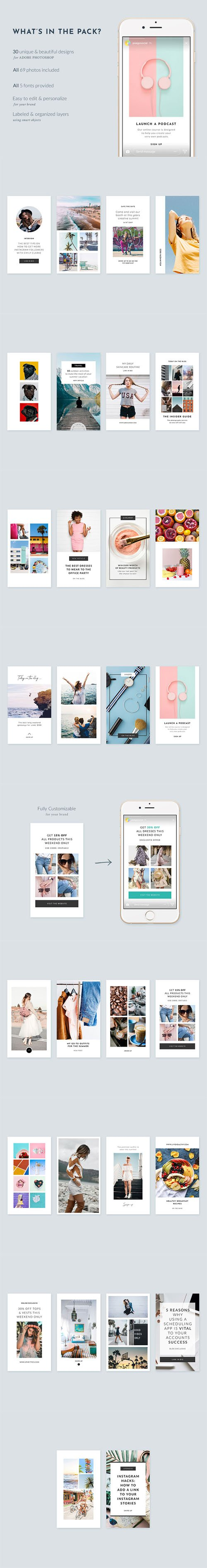 IG Stories Starter Pack - 30 Beautiful Instagram Story templates designed in Photoshop