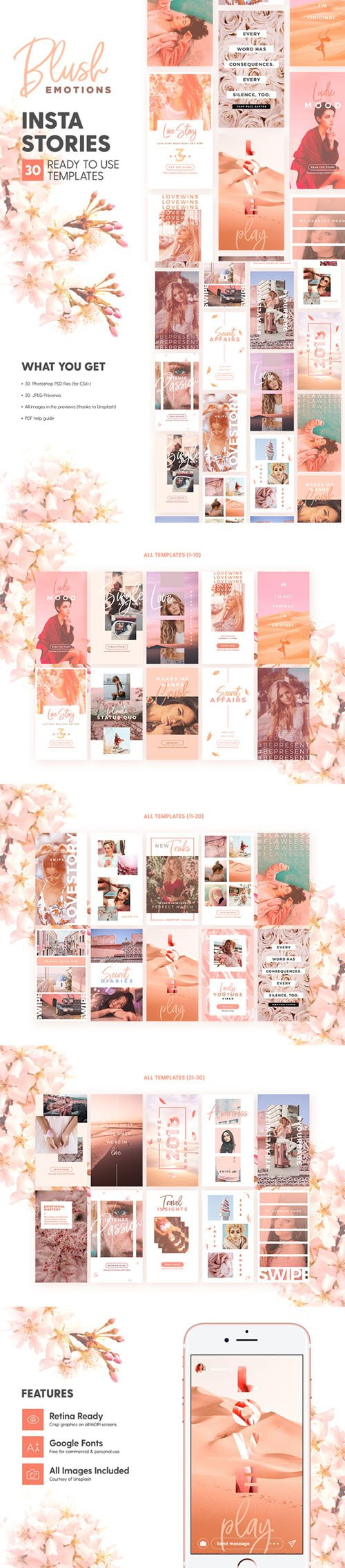Blush Emotions Insta Stories - 30 Photoshop Templates for Lovely Instagram Stories