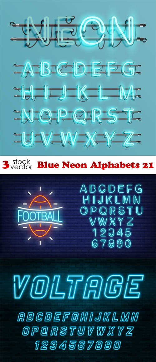 Vectors - Blue Neon Alphabets 24