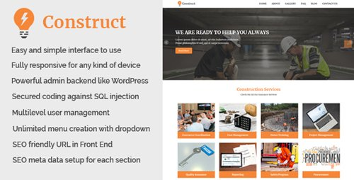 CodeCanyon - Construct v1.0 - Building and Construction Website CMS - 21033019