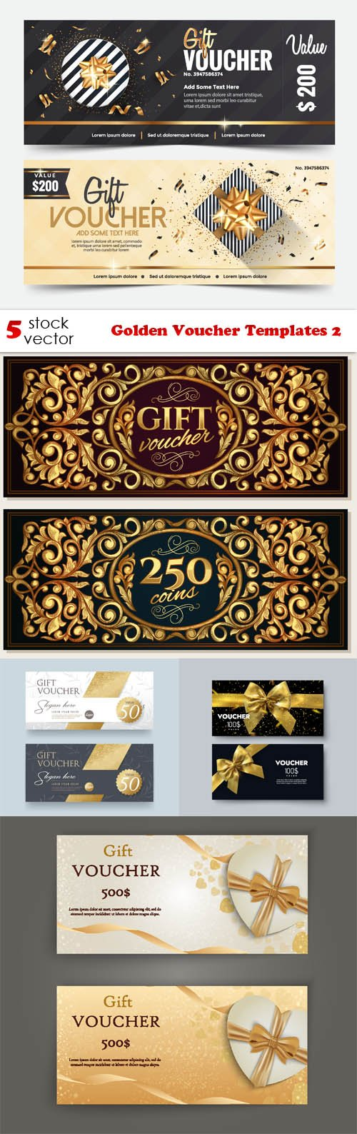 Vectors - Golden Voucher Templates 2
