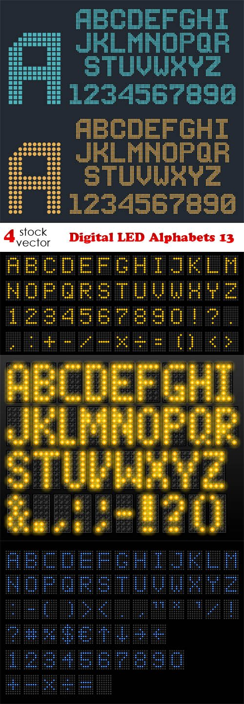 Vectors - Digital LED Alphabets 13