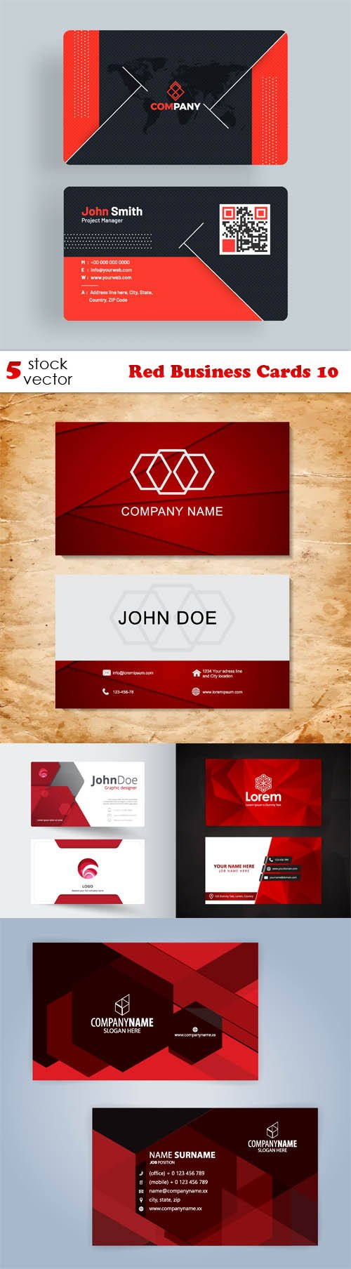 Vectors - Red Business Cards 10