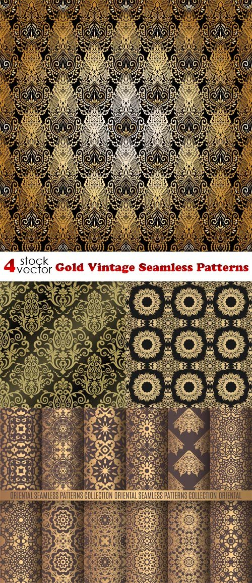 Vectors - Gold Vintage Seamless Patterns