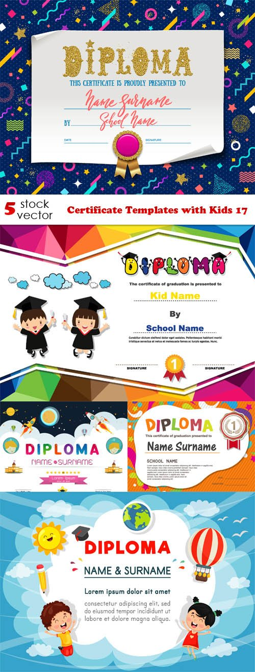 Vectors - Certificate Templates with Kids 17